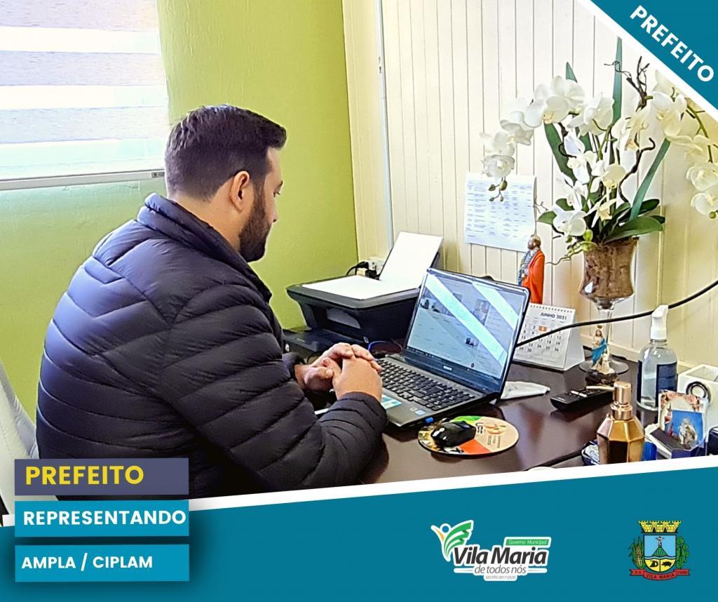 Imagem 2 - PREFEITO MAICO PARTICIPA NESTE MOMENTO DE REUNIÃO ONLINE