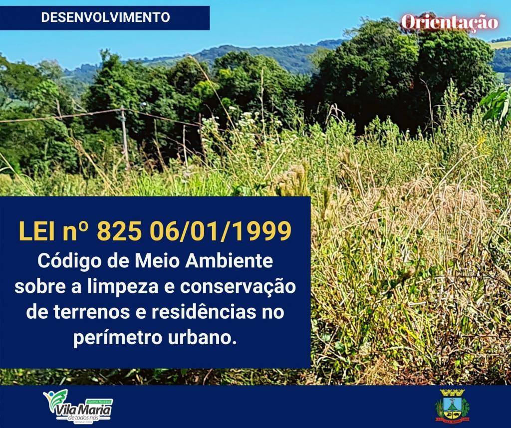 LEI nº 825 06/01/1999 - Código de Meio Ambiente sobre a limpeza e conservação de terrenos, passeios e sarjetas.