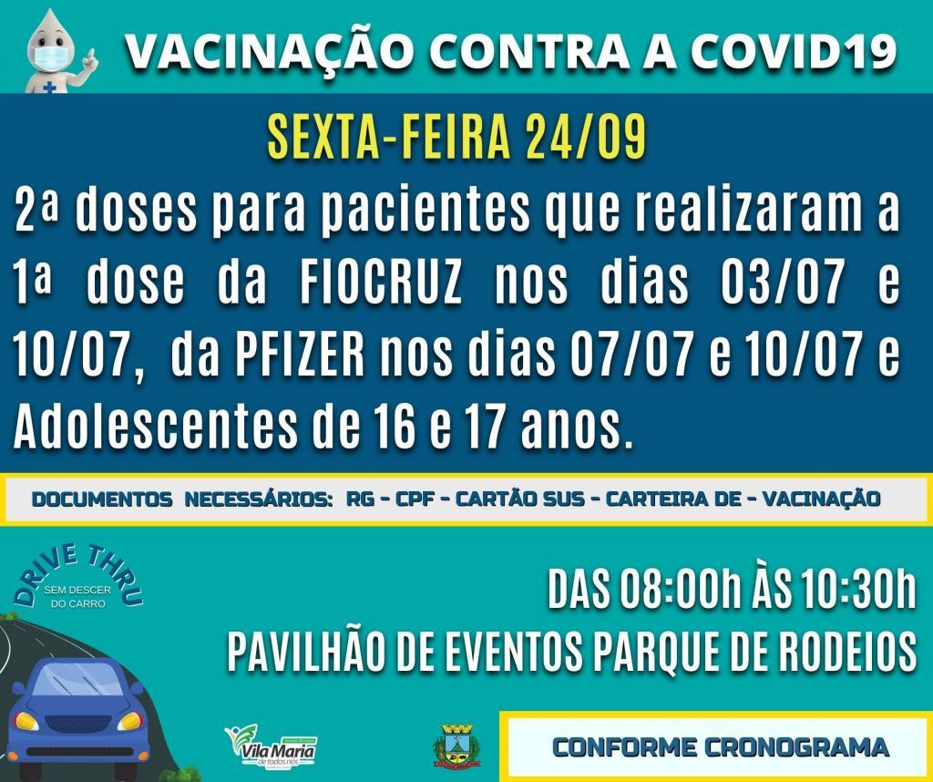 Imagem 1 - Atenção para o cronograma de vacinação contra a COVID-19 - 1ª e 2ª doses