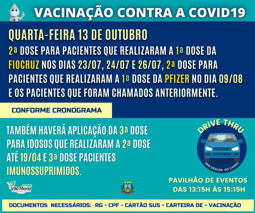 Imagem 1 - Atenção para o cronograma de vacinação Covid-19 - 2ª e 3ª doses para a próxima quarta-feira dia 13 de outubro